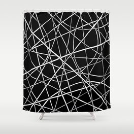 White Lines Black Space Shower Curtain