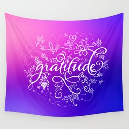Gratitude Purply Pink Wall Tapestry