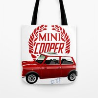 mini cooper Tote Bags featuring Classic Mini Cooper by car2oonz
