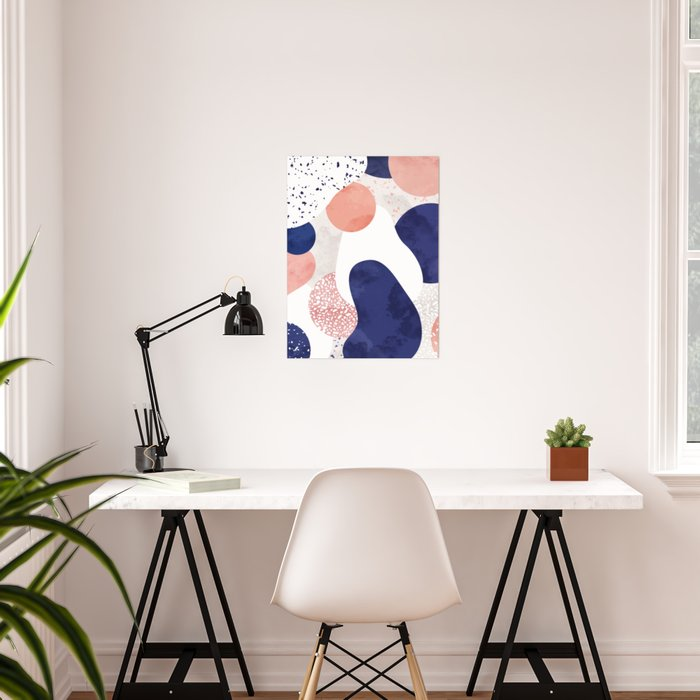 Terrazzo galaxy pink blue white Poster