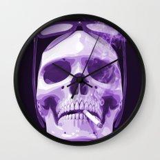 Skull Smoking Cigarette Purple Wall Clock