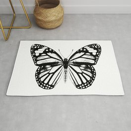 Monarch Butterfly | Vintage Butterfly | Black and White | Rug