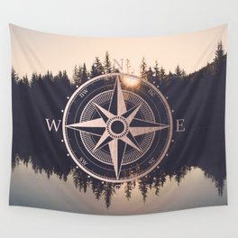 Rose Gold Compass Forest Wall Tapestry