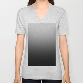 Gray to Black Horizontal Linear Gradient Unisex V-Neck