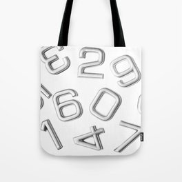 Silver numbers on white Tote Bag
