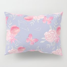 Pink morning. Floral pattern with butterflies. Pillow Sham