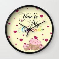 cupcake Wall Clocks featuring Cupcake by Melis Kalpakçıoğlu