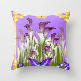 ART NOUVEAU PURPLE CALLA LILIES & BUTTERFLY FLOWERS ART Throw Pillow