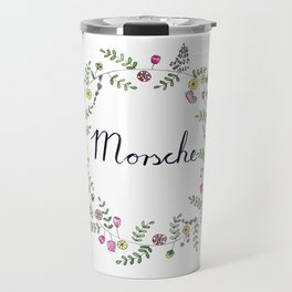 Morsche German Lettering with Flower Wreath Travel Mug