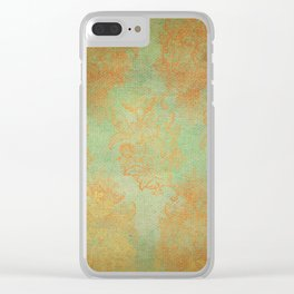 Grunge Garden Canvas Texture:  Gold and Green Baroque Nature Print Clear iPhone Case