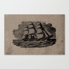 Vintage Sailing Ship - Antique Book Plate Etching - Retro Style Brown and Black Canvas Print