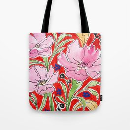 Cosmos in Red Tote Bag