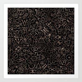 Alchemy symbols and Astrological symbols pattern #2 Art Print