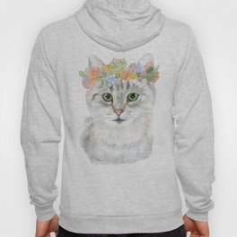 Gray Tabby Cat Floral Wreath Watercolor Hoody