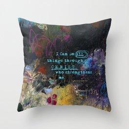 Phillipians 4:13 Bible Verse Scripture Abstract Art by Michel Keck Throw Pillow