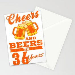 Cheers And Beers To 36th Birthday Gift Idea Stationery Cards