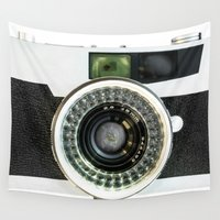 vintage camera Wall Tapestries featuring Vintage camera by cafelab