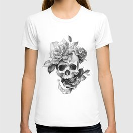 Black and white Skull and Roses T-shirt