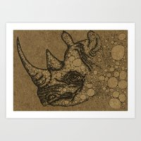 rhino Art Prints featuring Rhino by Julia Kisselmann