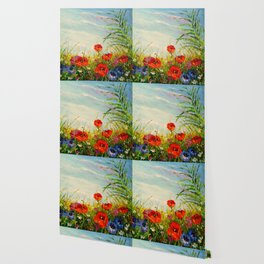 Field in poppies and cornflowers Wallpaper