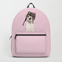 Cool Pilot Llama in Pink Backpack