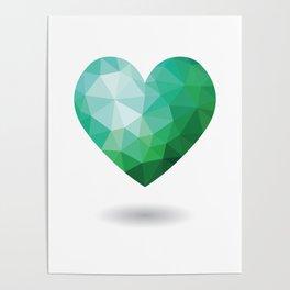 Teal Broken Heart Poster