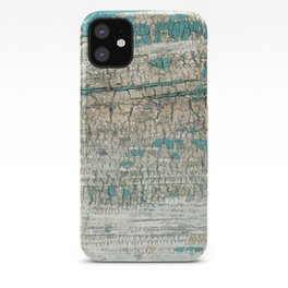 Rustic Wood Turquoise Weathered Paint Wood Grain iPhone Case