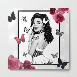 Retro Pinup Girl B&W Butterflies & Pink Orchids Metal Print