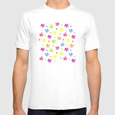 Cute retro hen and flowers MEDIUM Mens Fitted Tee White