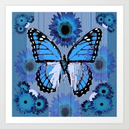 SHABBY CHIC CERULEAN BLUE BUTTERFLY FLORAL ART Art Print