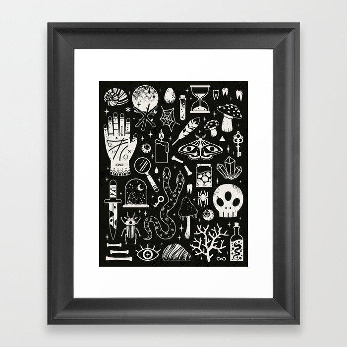 Curiosities: Bone Black Framed Art Print
