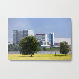 Tree, river Rhine and City of Dusseldorf Metal Print