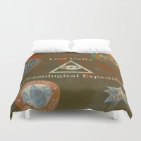 indiana jones Duvet Covers featuring Indiana Jones Adventure by Rob Yeo Design