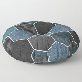 Midnight marble hexagons Floor Pillow