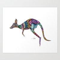 kangaroo Art Prints featuring kangaroo by Annie Liu