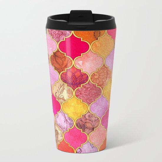 Hot Pink, Gold, Tangerine & Taupe Decorative Moroccan Tile Pattern Metal Travel Mug