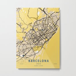 Barcelona Yellow City Map Metal Print