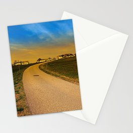 A road, a village and a sunset   landscape photography Stationery Cards