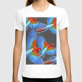 FLOCK OF BLUE MACAWS ON CHARCOAL T-shirt