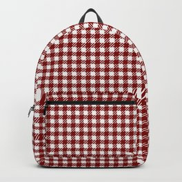 Large Dark Christmas Candy Apple Red Gingham Plaid Check Backpack