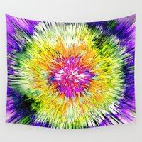 tie dye Wall Tapestries featuring Textured Retro Tie Dye by Phil Perkins