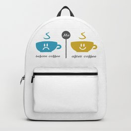 Before and after coffee #society6 #decor #buyart #artprint Backpack