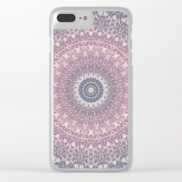 gray pink mandala Clear iPhone Case