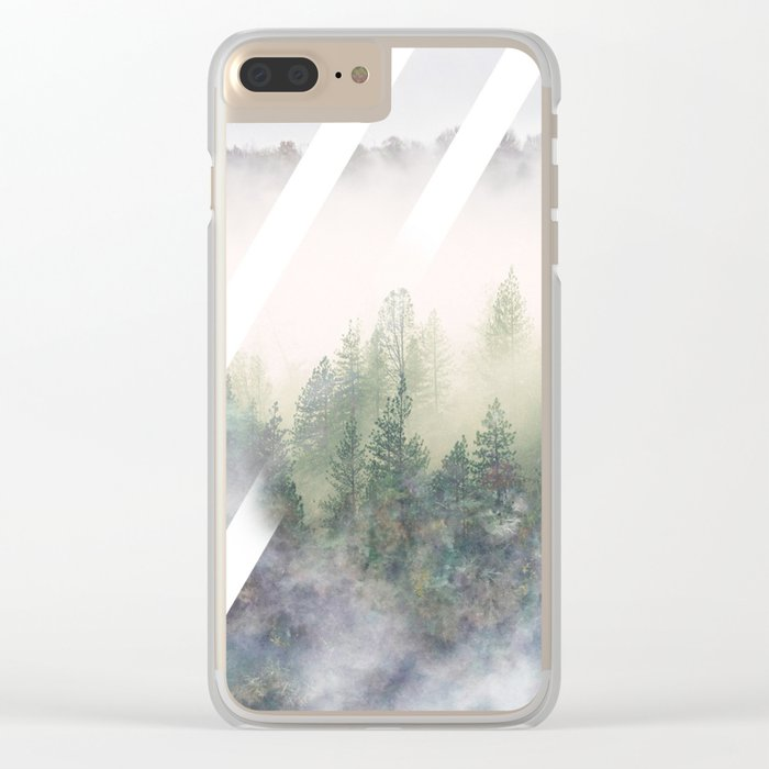 Foggy Mountains Clear iPhone Case
