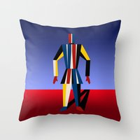 soldier Throw Pillows featuring TIN SOLDIER by THE USUAL DESIGNERS