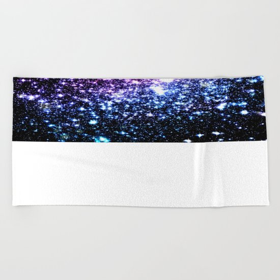 Cool Tone Galaxy Stars Beach Towel