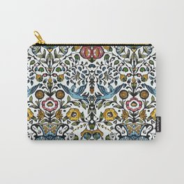 flower and birds in Persian blue mosaic Carry-All Pouch