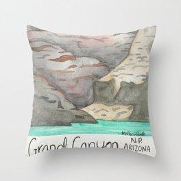 Grand Canyon -Arizona- National Park-Watercolor Illustration Throw Pillow