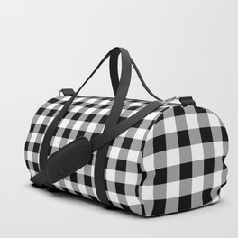 Classic Black & White Gingham Check Pattern Duffle Bag