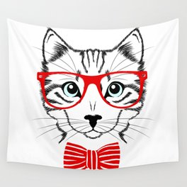 Hipster Cat with Red Glasses Wall Tapestry